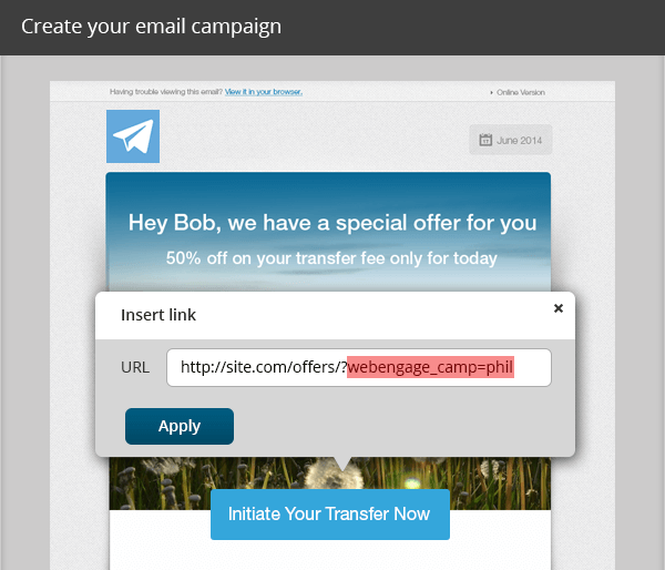 Inject WebEngage Tracking Parameters in Email Campaigns
