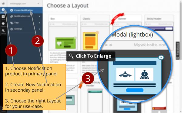 create custom notification by choosing Notifications Layouts