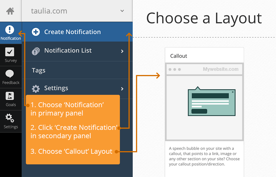Taulia Case Study: Select Notification Layout example