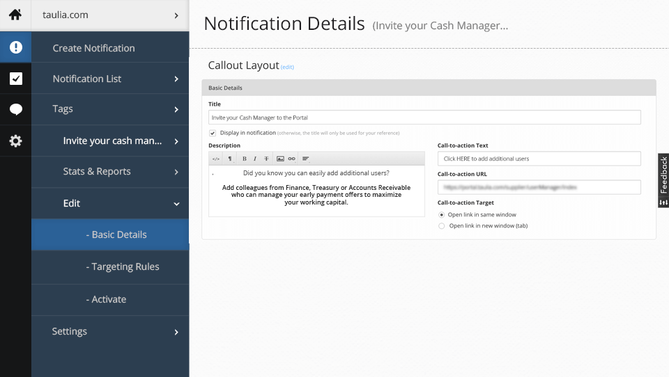 Notification Details: appearance of notification matching site UI/UX