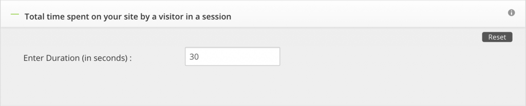time spent on site by visitor in a session setup