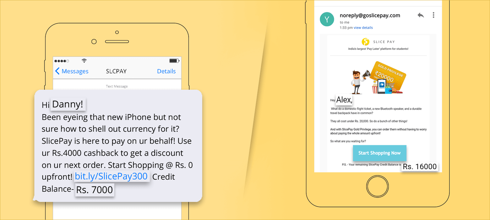 personalised email and SMS example to initiate transaction