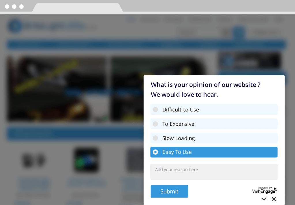 landing page website survey example