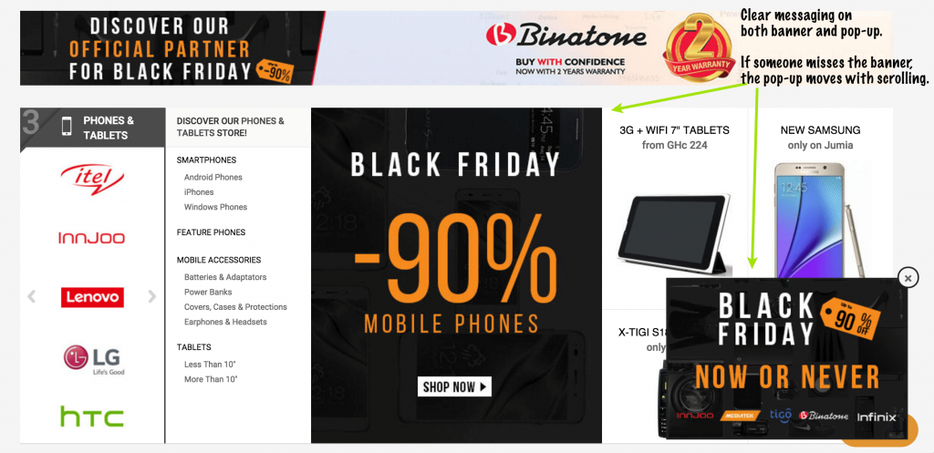Black Friday Website intercept example