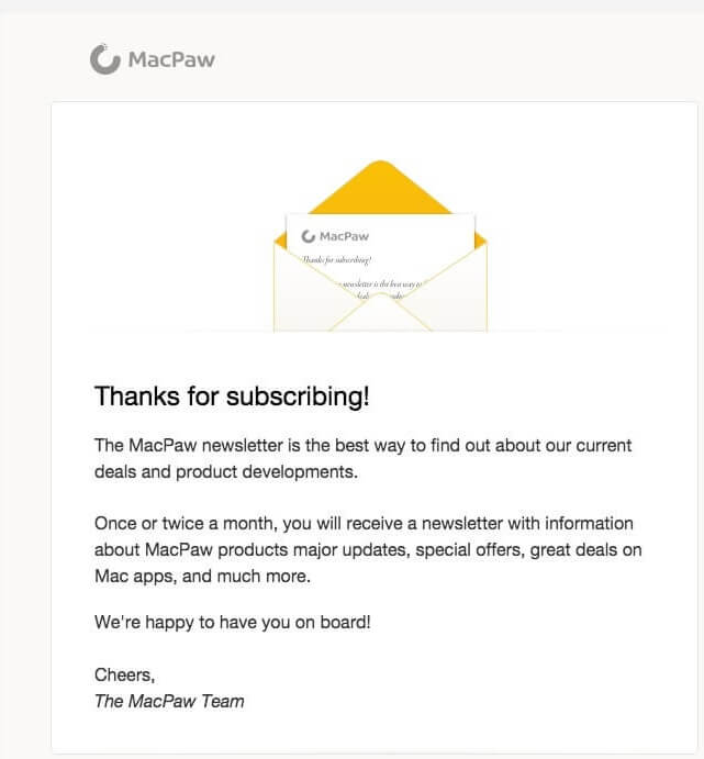 welcome email example by macpaw