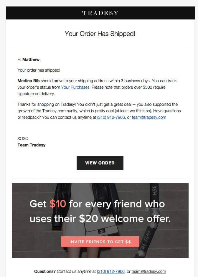 Referral campaign email