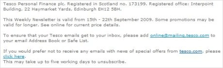 Dubious unsubscribe link