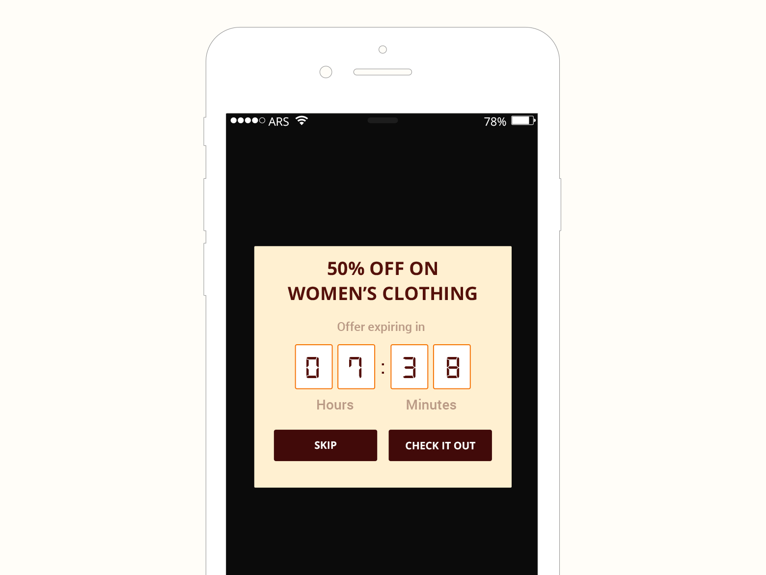 flash sale in-app notification