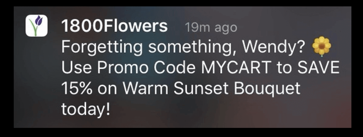 1800flowers Push notification example