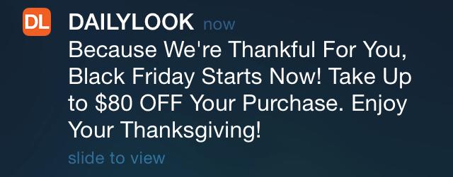 Greateful push notification from Dailylook