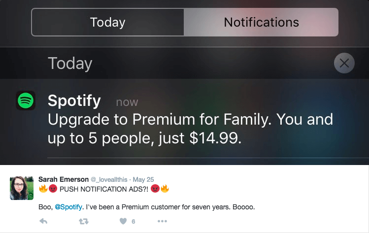 Spotify push notification example
