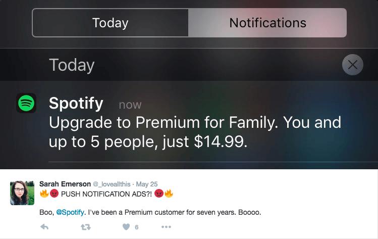 Spotify push notification example