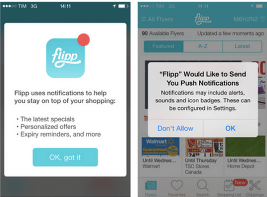 pre-permission popup before iOS push notification opt-in