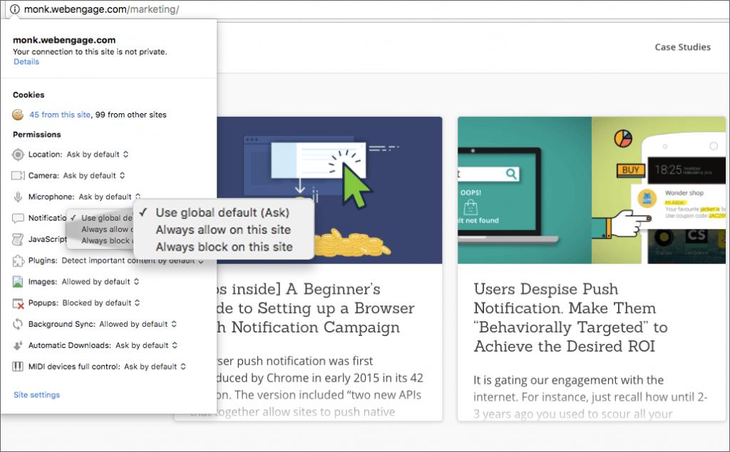 Permission options in Chrome for web push notificatiom