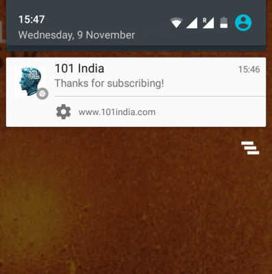 welcome push notification example
