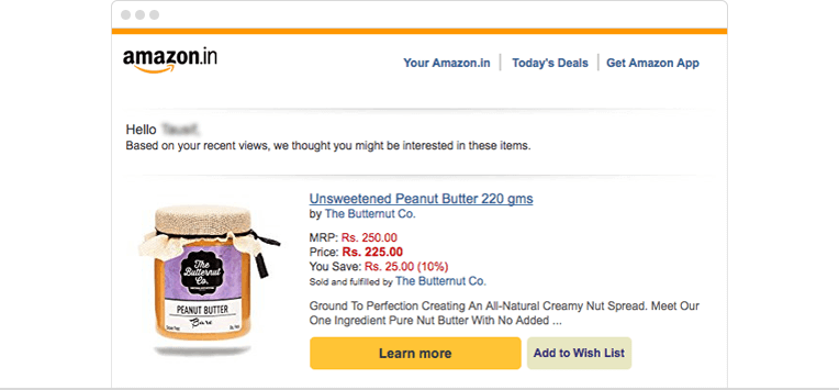Customer engagement by email on Abandoned search by Amazon