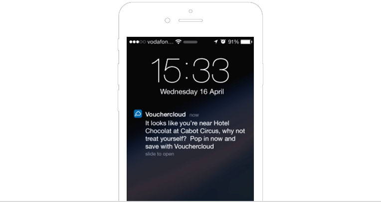 Geofencing push notification by Vouchercloud