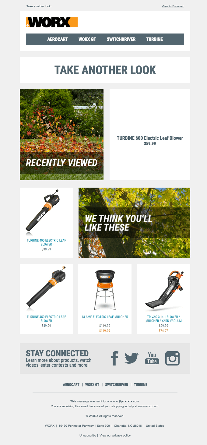 Example: Product recommendations via automated email by Worx