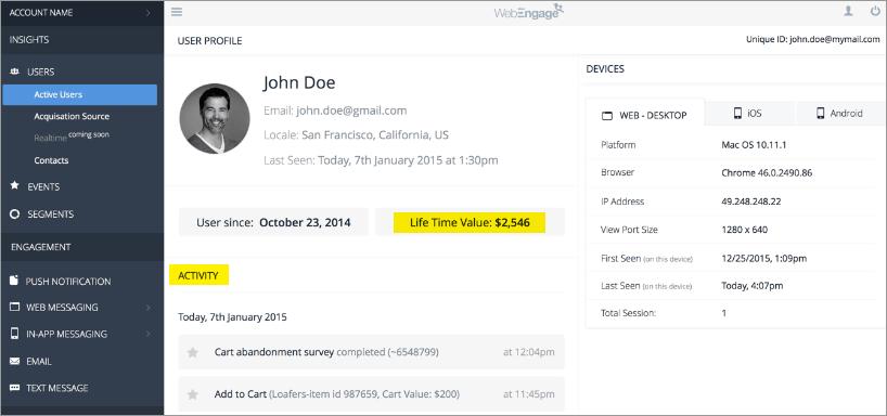 User profile in B2C Marketing Automation Platform