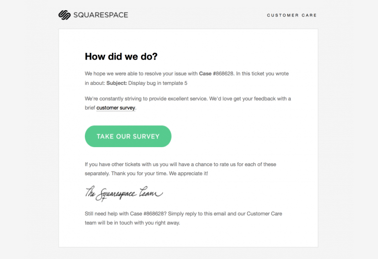example: Gather feedback from customers via automated email by SquareSpace
