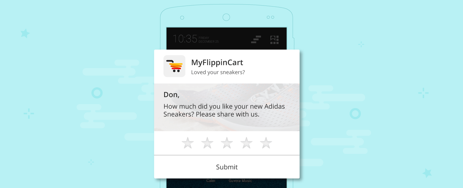 Push Notification to take feedback on purchased product for e-commerce businesses