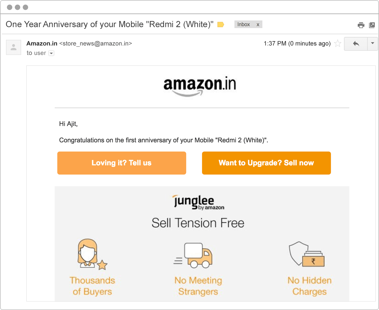 targeted email example with time based reminders from Amazon