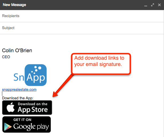 Apple app store & Google play link in the email example