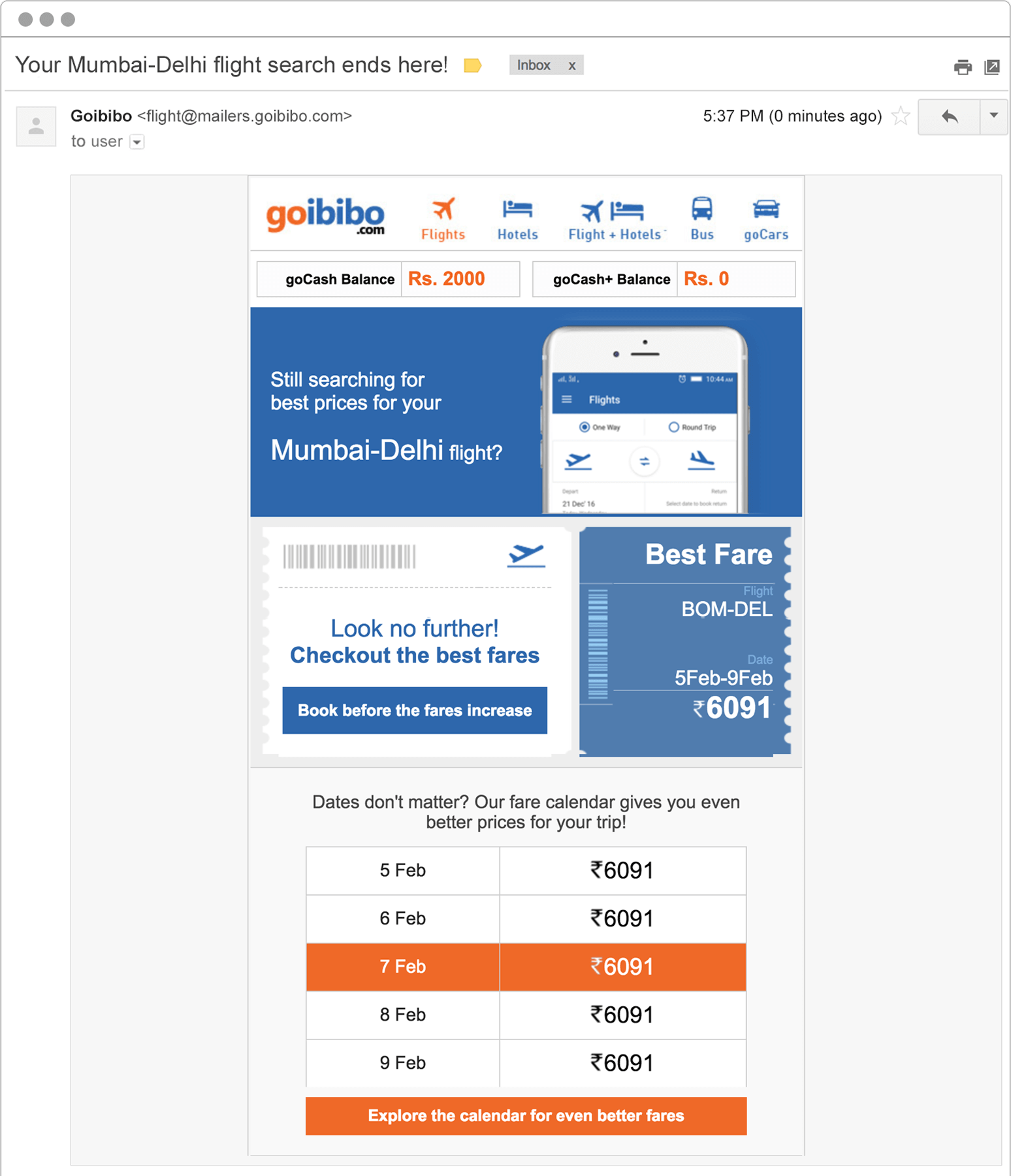 Goibibo flight search email to customers