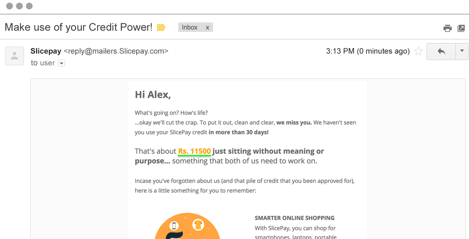 targeted email for repeat purchase from Slicepay