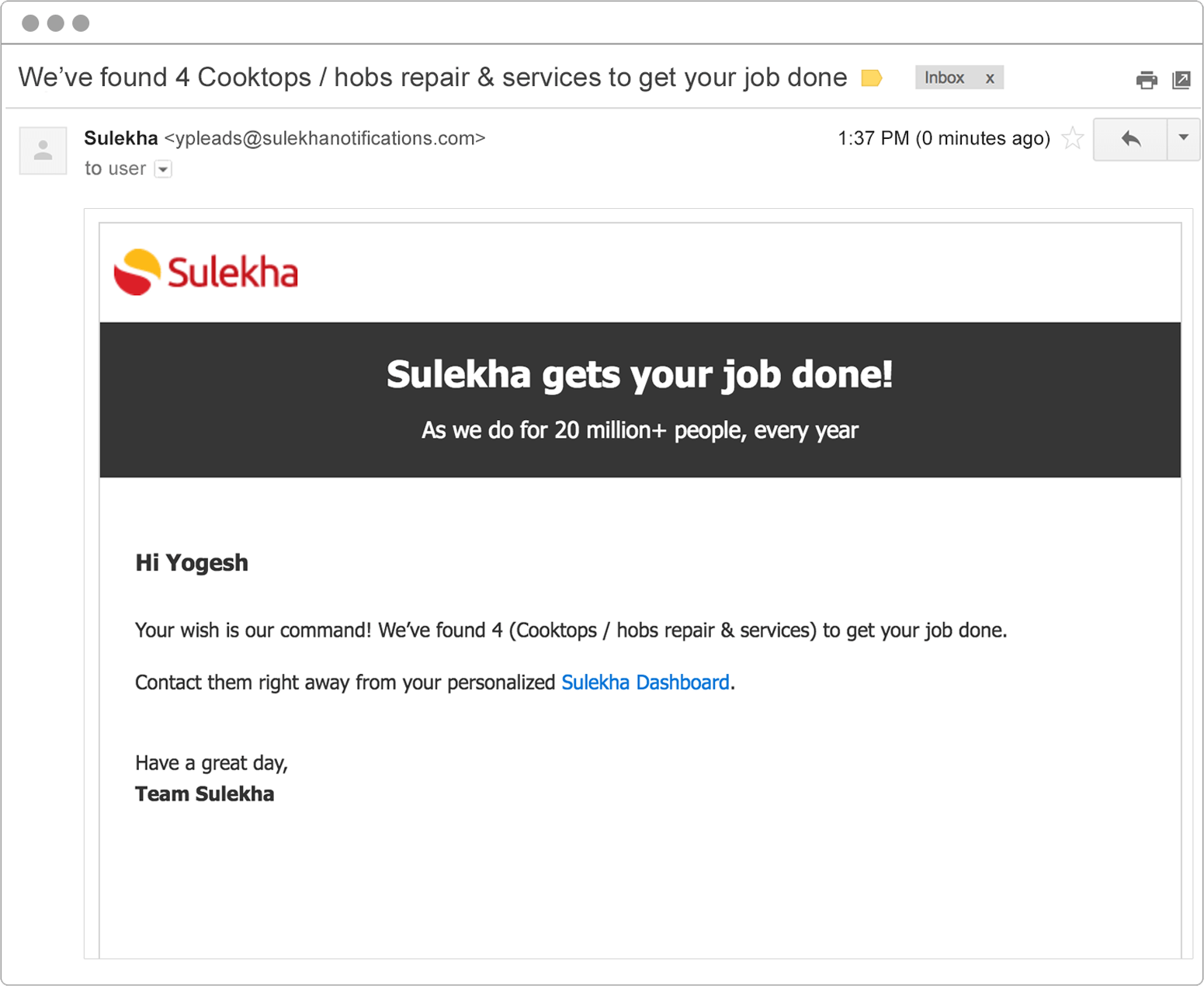 Retargeting email example from Sulekha