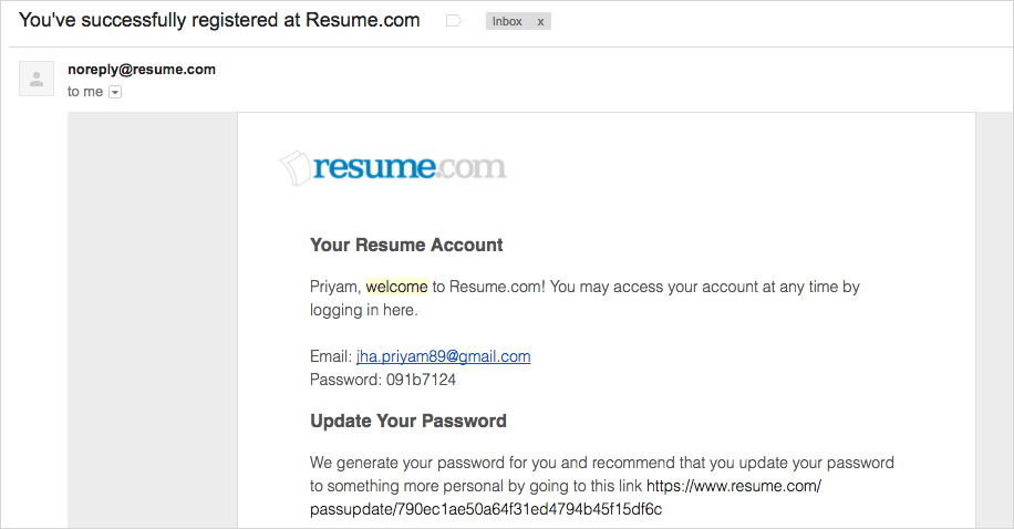 succesfully registered email from resume.com