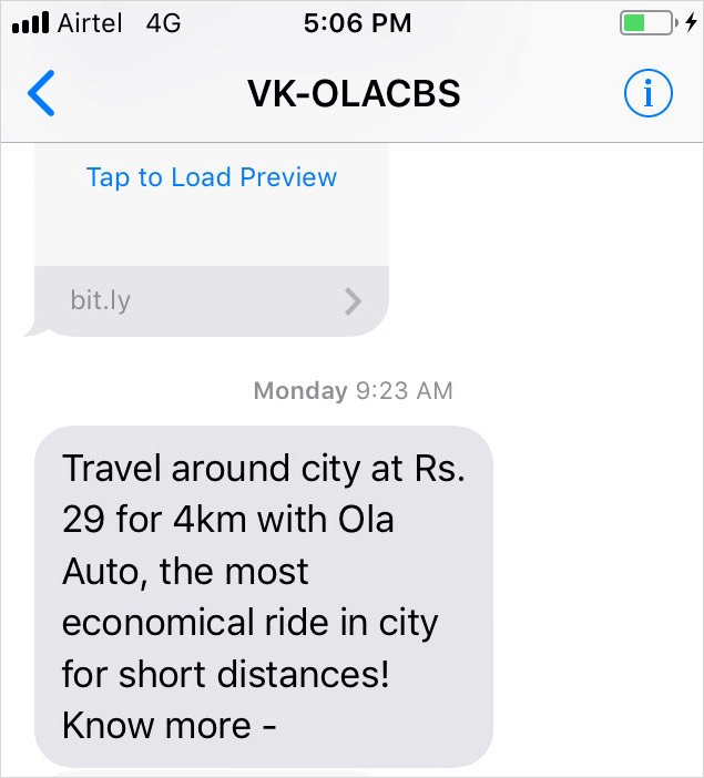 ola auto mobile notification example