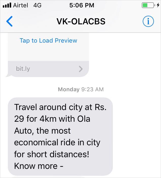 ola auto mobile notification example