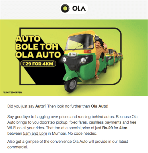 ola auto email example