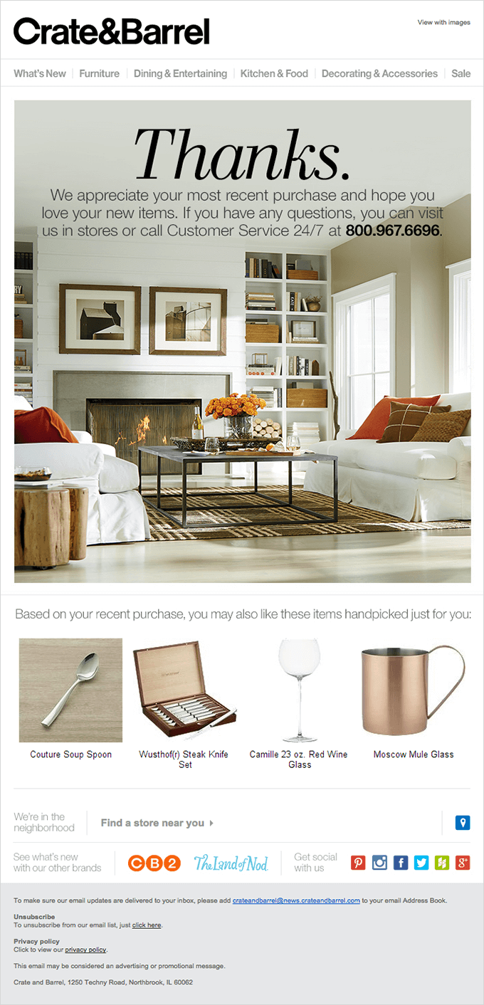 crate & barrel cross sell product email example