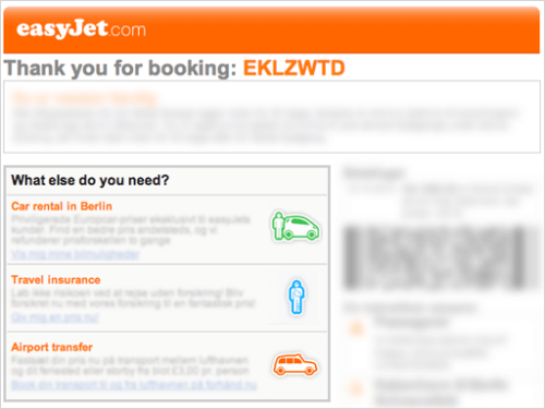 easyjet personalized cross sell email email example