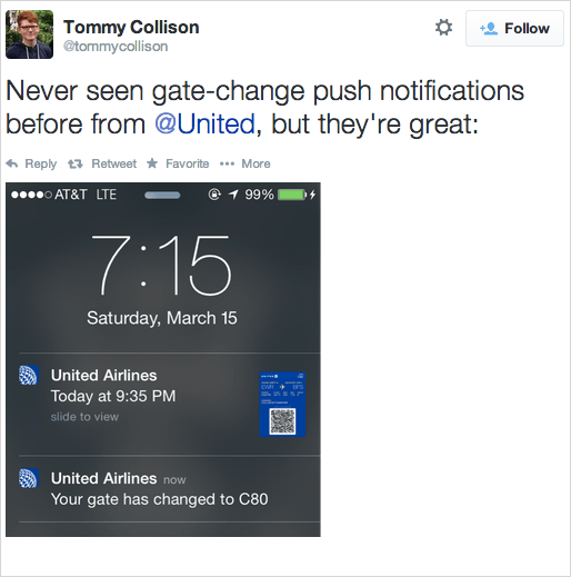 united airline push notification