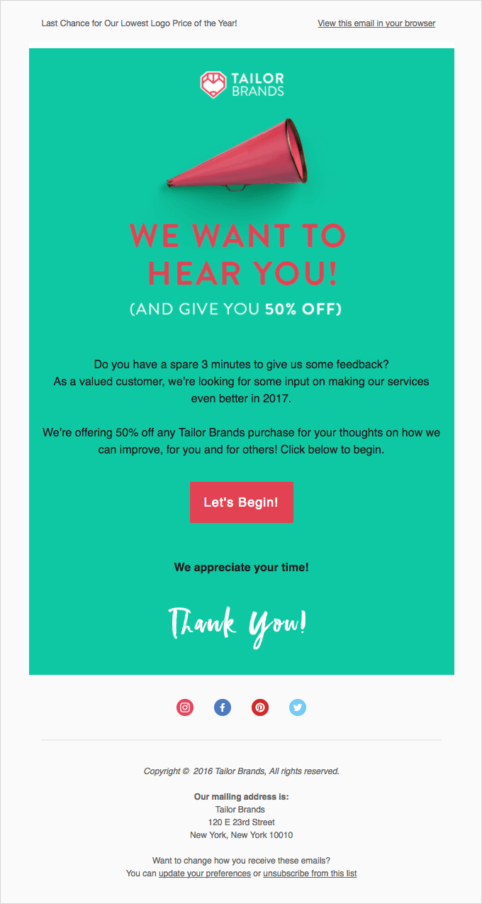tailor brands feedback email