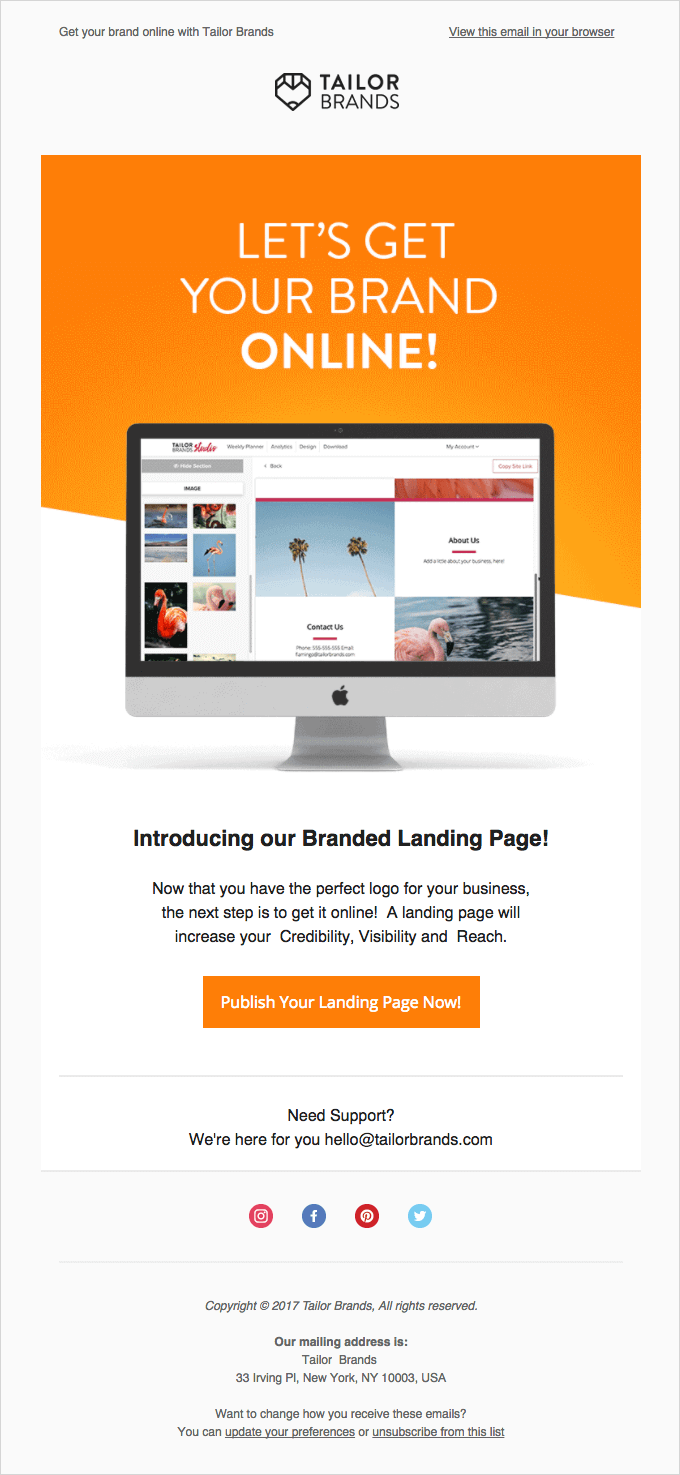 Tailorbrand first onboard email to get started