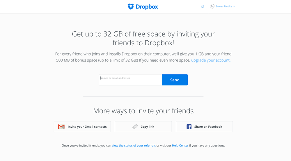 dropbox email example for free space with referral