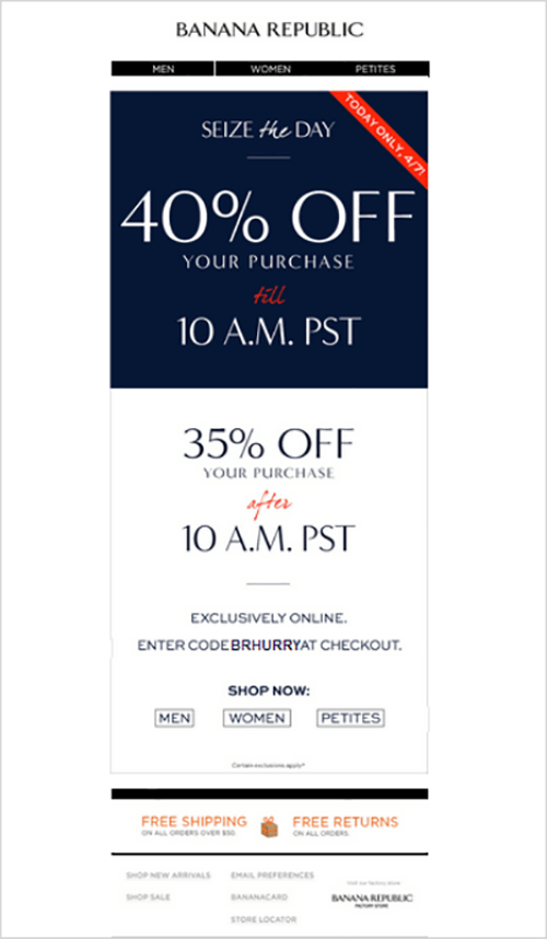 banana republic email of limited time offer