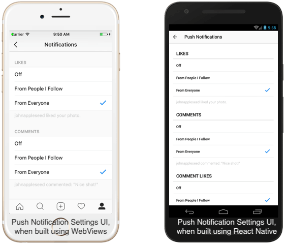 UI and UX of Push Notification Settings of Instagram's iOS app - A comparison before and after shifting to React Native
