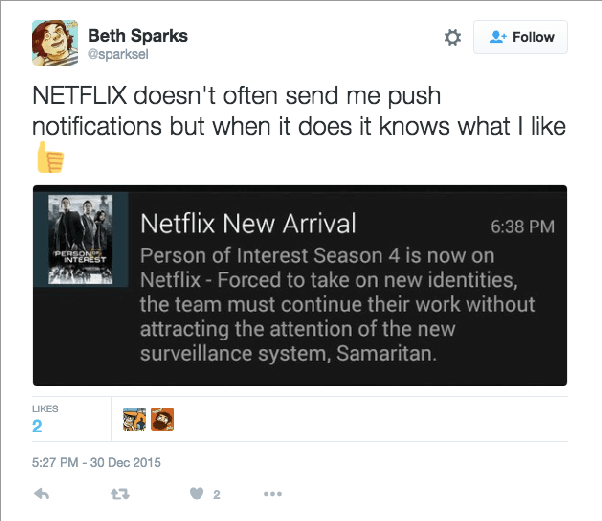 Netflix personalized push notification