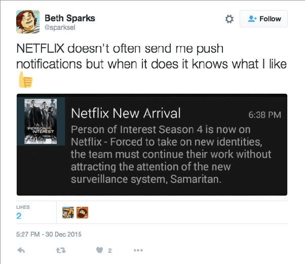 Netflix personalized push notification