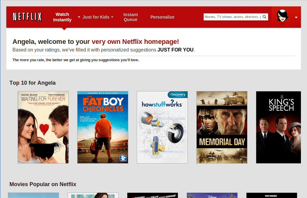 netflix personalized homepage