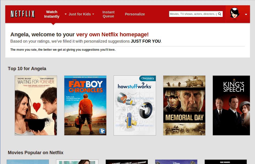 netflix personalized homepage