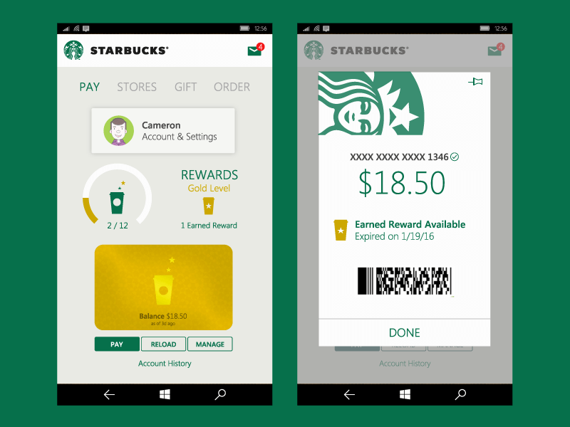 starbucks in-app notification windows phone