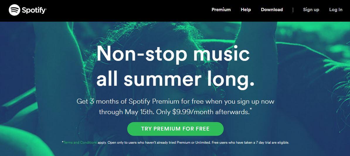 Spotify CTA example