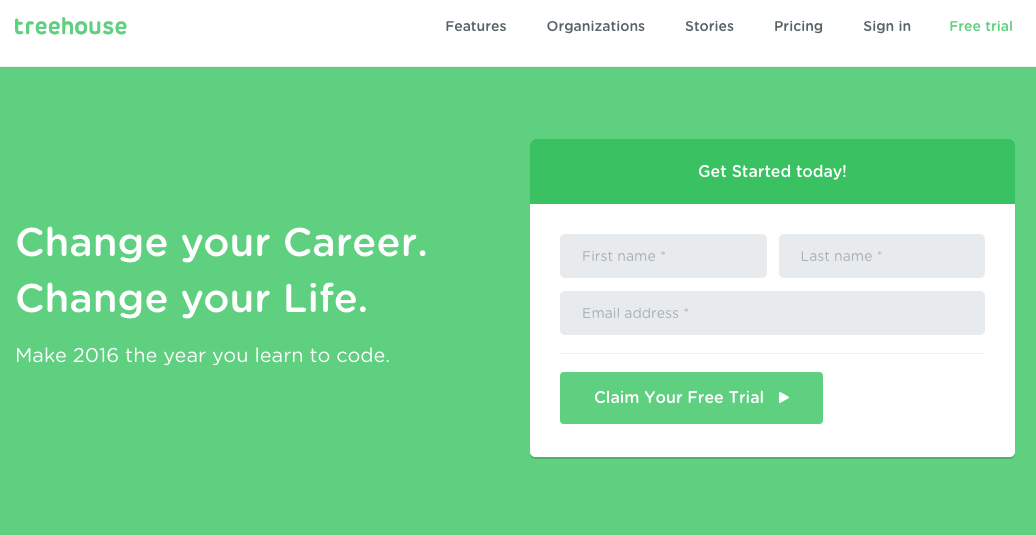 free trial Call-To-Action example