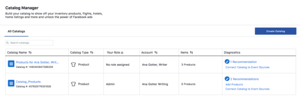 Facebook product catalog manager